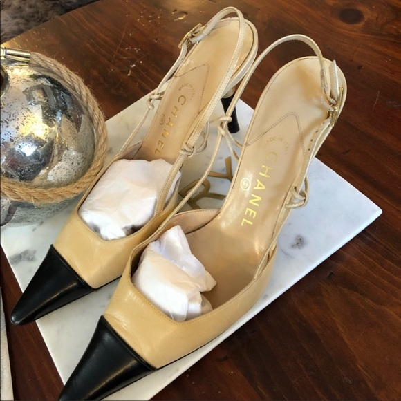 d6eaf2db1d CHANEL Shoes | Slingback Two Toned Kitten Heeled Pumps | Poshmark